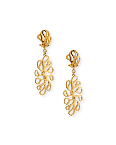 18K Sea Leaf & Diamond Bezel Drop Earrings