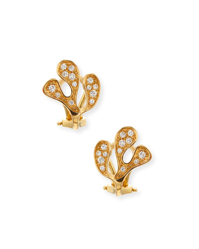 Small Sea Leaf 18K Gold & Diamond Earrings