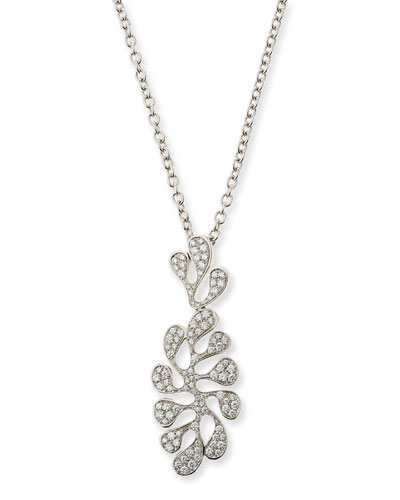 Sea Leaf 18K White Gold & Diamond Pendant Necklace