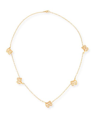 Sea Leaf 18K Yellow Gold Station Necklace with Diamonds