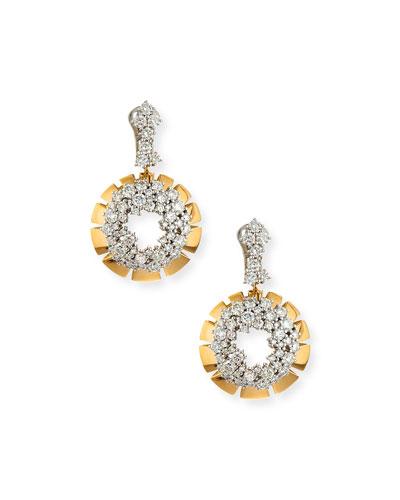 Vesuvio 18k Diamond Cluster Hoop Drop Earrings, 6.7tcw