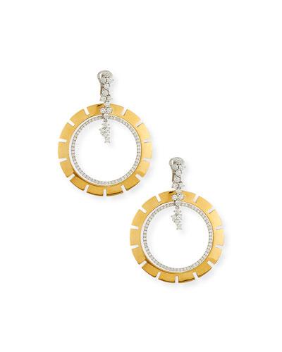 Vesuvio Large 18k Diamond Double-Hoop Drop Earrings, 3.25tcw