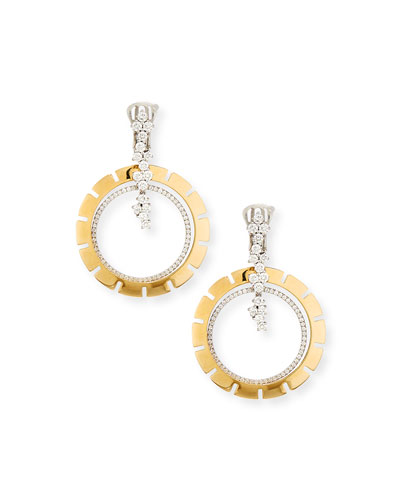 Vesuvio Large 18k Diamond Double-Hoop Drop Earrings, 2.07tcw