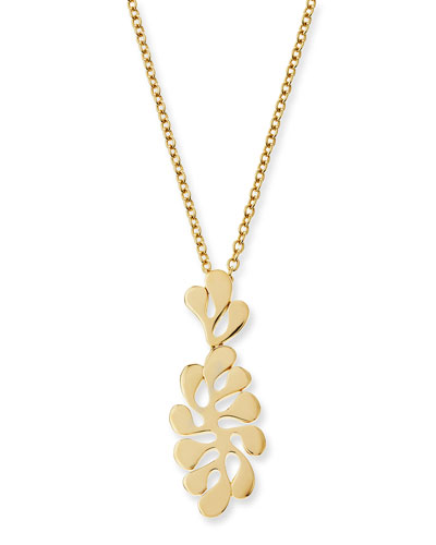 Sea Leaf Small 18k Yellow Gold Pendant Necklace
