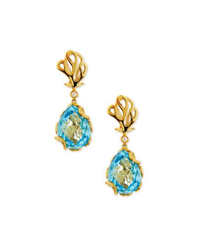 Sea Leaf 18k Blue Topaz & Diamond Drop Earrings