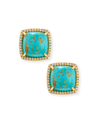 Signature Turquoise & Diamond Button Earrings