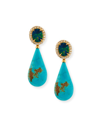 Signature Opal & Turquoise Teardrop Earrings with Diamonds