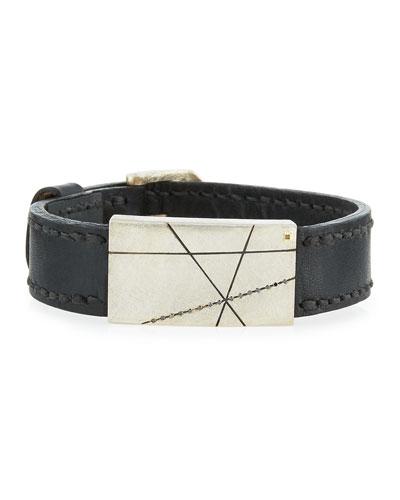 Silver, Leather & Black Diamond Buckle Bracelet