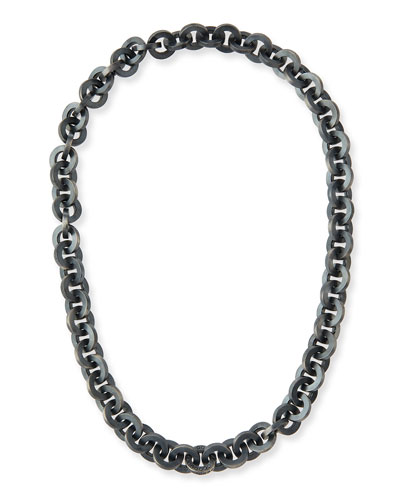 Oxidized Silver Link Necklace w/ Brilliant-Cut Black Diamonds