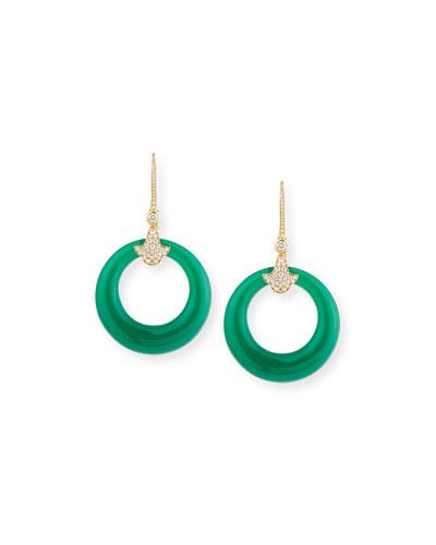 Karine 18K Pavé Diamond & Green Chalcedony Hoop Earrings