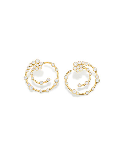 18K Glamazon Stardust Open Hoop Earrings with Diamonds