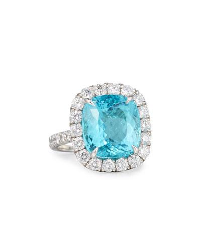Cushion-Cut Paraiba Ring with White Diamonds in Platinum