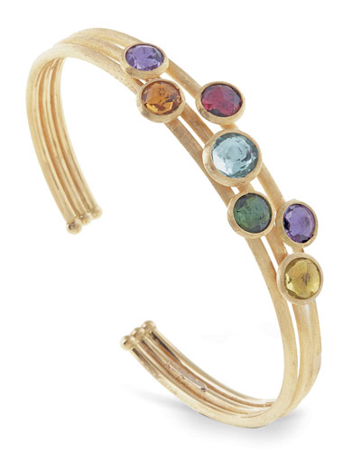 Jaipur 18K Three-Row Multi-Stone Bangle