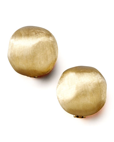 Africa Textured Gold Stud Earrings, Large