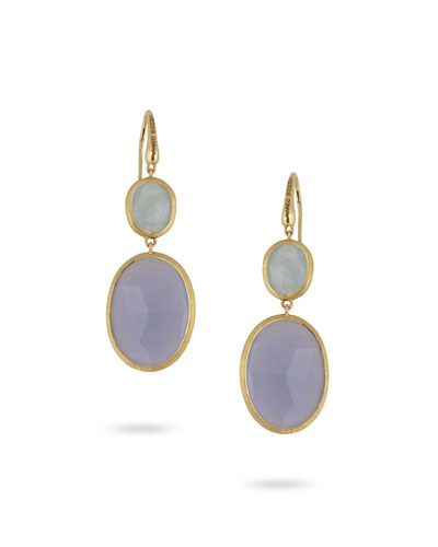 Siviglia Resort Aquamarine & Chalcedony Drop Earrings