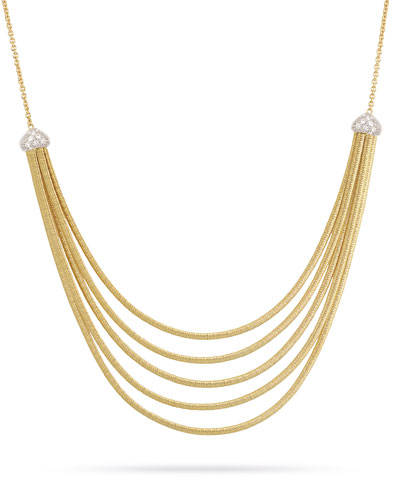 Cairo 5-Strand Bib Necklace with Diamonds