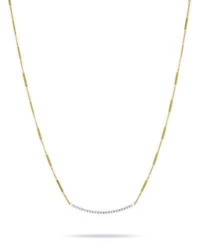 18K Hand-Engraved Gold Diamond Bar Necklace