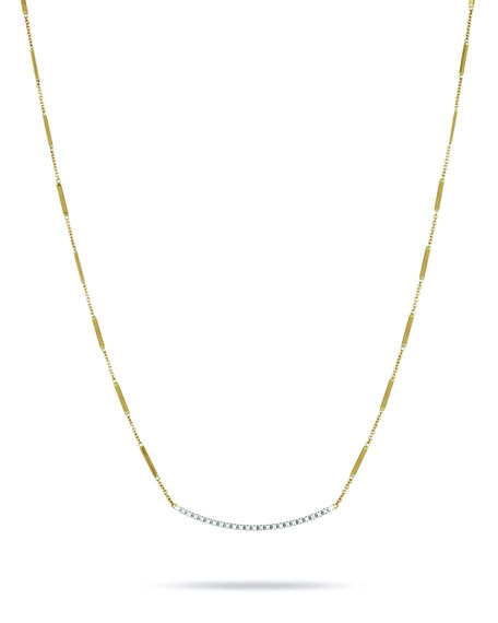 Marco Bicego Goa 18K Hand-Engraved Gold Diamond Bar Necklace