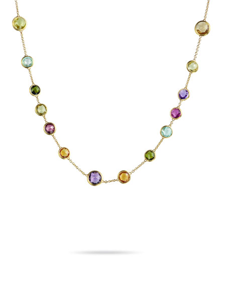 Marco Bicego Jaipur 18K Gold Mixed Semiprecious Stone Necklace, 17""