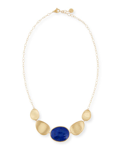 Lunaria Five-Leaf Lapis Pendant Necklace