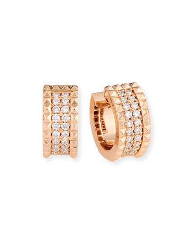 Rock & Diamond 18K Rose Gold Huggie Earrings