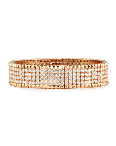Rock and Diamond 18K Rose Gold Bangle