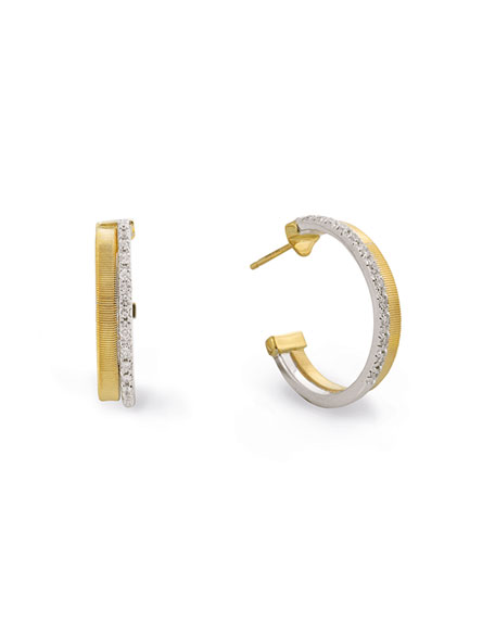 Marco Bicego Masai 18K White & Yellow Gold Hoop Earrings with Diamonds