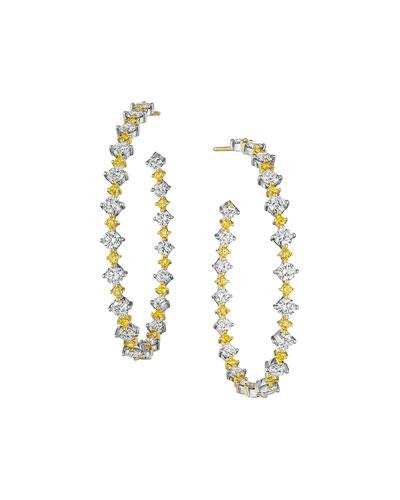 Hoops White & Yellow Diamond Earrings