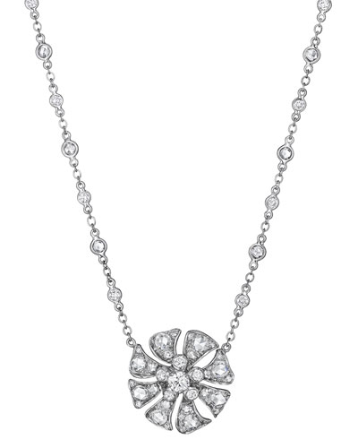 Aster Small Blossom Pendant Necklace with Diamonds