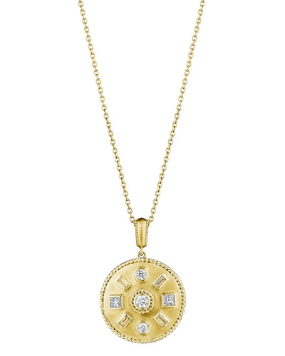 Round & Baguette Diamond Medallion Necklace