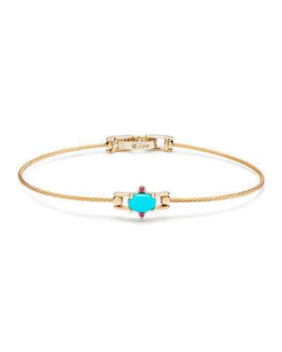 Turquoise & Ruby Station Wire Bracelet