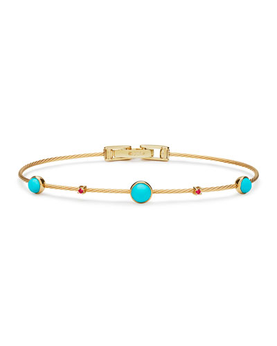 Turquoise & Ruby Five-Station Wire Bracelet