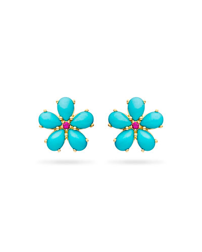 Small Turquoise Petal Button Earrings with Rubies