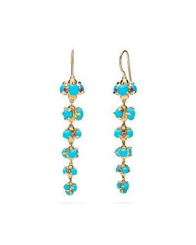 Turquoise Cabochon & Ruby Bubble Drop Earrings