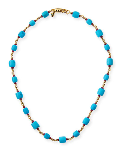 Turquoise Barrel Bead Necklace with Rubies