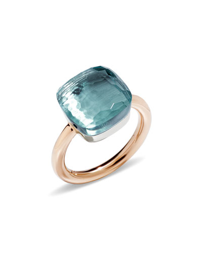 Nudo Faceted Blue Topaz Ring, Size 53