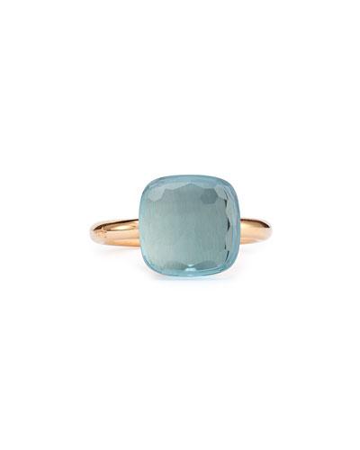 Nudo Rose Gold & Blue Topaz Grande Ring, Size 54