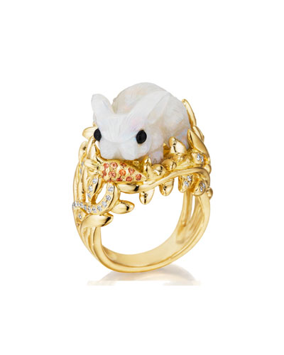 18K Gold & Opal Bunny Ring with Diamonds, Size 6