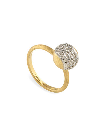 Tennis 18K Gold Pavé Diamond Ball Ring