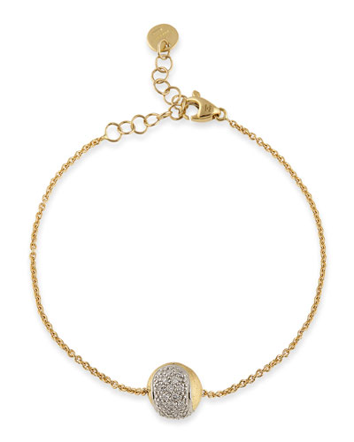 Tennis 18K Gold Pavé Diamond Ball Station Bracelet