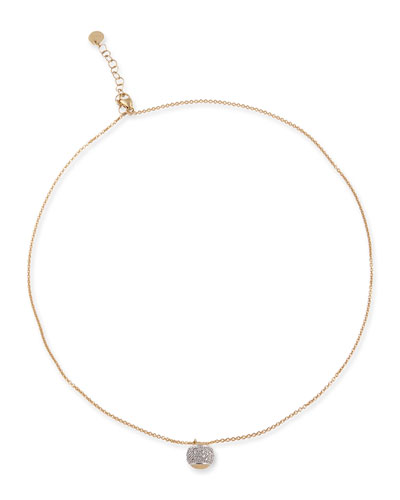 Tennis 18K Gold Pavé Diamond Ball Necklace