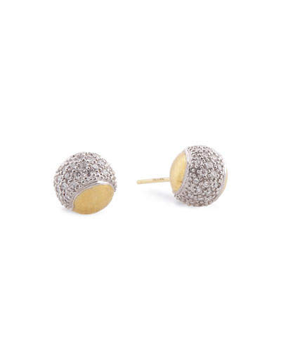 Tennis 18K Gold Pavé Diamond Ball Earrings