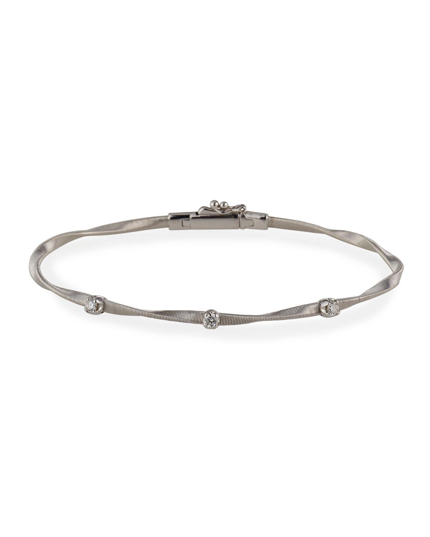 Marrakech 18K White Gold Twisted Bracelet with Diamonds