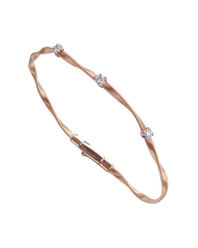 Marrakech Twisted 18K Rose Gold Bracelet with Diamonds