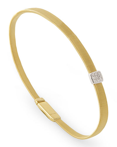 Masai 18K Yellow Gold Coil Bracelet with Diamond Station