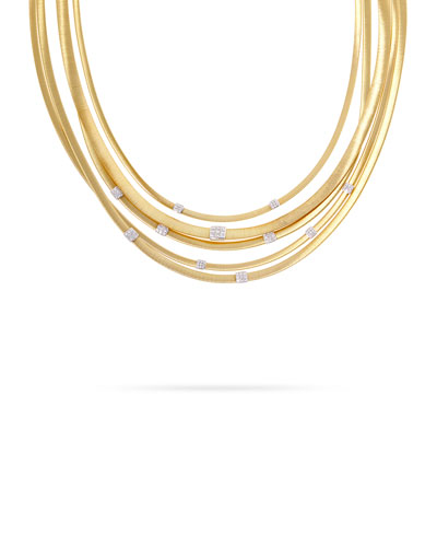 Masai 18K Gold Five-Strand Necklace with Diamond Stations
