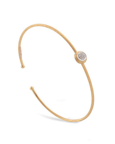 Jaipur 18K Yellow Gold Bangle with Diamond Bezel