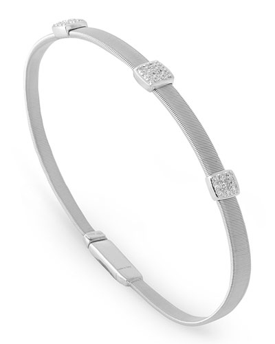 Masai 18K White Gold Bracelet with Three Diamond Stations