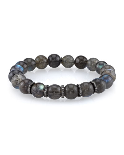 10mm Labradorite Beaded Bracelet with Diamond Rondelles, 0.73 TCW