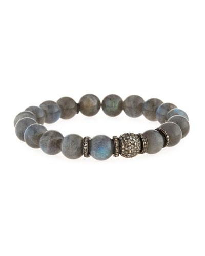 Labradorite Bead Bracelet w/Diamonds
